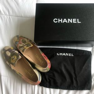 💐CHANEL metallic floral flat loafer shoes💐